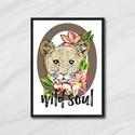 Wild soul, Dekoráció, Képzőművészet, Kép, Illusztráció, Fotó, grafika, rajz, illusztráció, Egyedi, saját tervezésű nyomat.   Az ár 1db képre vonatkozik, a keretet NEM tartalmazza.   A kép mé..., Meska