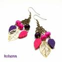 Spring Leaves / Howlit fülbevaló, Magenta és lila színű howlit ásványfánkokbó...