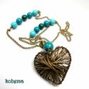 Turquoise / Fagolyós hosszú nyaklánc nagy szívvel, Csodaszép, kiemelkedően jó minőségű, fényes...
