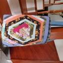 Bevásárló táska, az újra hasznosítás jegyében.., Táska, Szatyor, Válltáska, oldaltáska, Újra hasznosított textilekből készült ez az öko bevásárló táska... Színes, mintás pamut vászon és fa..., Meska