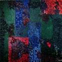 Vörös-kék absztrakt festmény, Képzőművészet, Festmény, Olajfestmény, Vászonra olajjal készült, sötét tónusú, absztrakt festmény, kerettel. A kép színei: vörö..., Meska