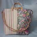 Fele-fele romantikus táska bőr pánttal  /kézitáska /válltáska , Táska, Válltáska, oldaltáska, Varrás, Könnyű rózsaszín steppelt műbőr  táska egy egyedi textillel kombinálva fele fele mintában varrva. V..., Meska