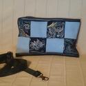 Bőr táska kék kockás /válltáska /oldal táska , Táska, Válltáska, oldaltáska, Kis méretű rohangálós bőr táska  sötét kék, világos kék és mintás bőrökből.  Igazán..., Meska