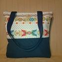Kék virágos bélelt táska /szatyor /válltáska , Táska, Szatyor, Válltáska, oldaltáska, Könnyű kis bélelt szatyor, egy tartósabb vászonból, amit akár táskának is használhatunk, v..., Meska