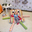 Bendegúz - óriás babzsák padlópárna gyerekeknek, Baba-mama-gyerek, Bútor, Gyerekszoba, Babzsák, Varrás, Bendegúz egy kedves, mindig mosolygó babzsák padlópárna.  Kényelmes, puha és a hideg padlón nagyon ..., Meska