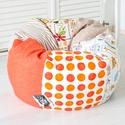 """Vidám színű, """"süppedős"""" patchwork babzsákfotel - KAMASZ MÉRET - narancs, klasszikus formájú babzsák tiniknek, Egyedi tervezésű, vidám színű patchwork babzs..."""