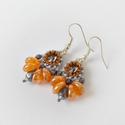Narancs-szürke elegáns gyöngy fülbevaló Swarovski rivoli kristályokkal, Ékszer, Ékszerszett, Fülbevaló, Káprázatos, elegáns gyöngy fülbevaló kontrasztos szürke, hematit és narancs színek kombiná..., Meska