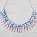 Trendi pasztell gyöngy nyakék rózsaszín, világos kék és fehér színekben, Ékszer, Nyaklánc, Trendi gyöngy nyakék, a pasztell színek finom harmóniájából fűzve, csipetnyi ezüsttel fűsz..., Meska