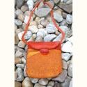 Selymes nemez táska, Nyakba akasztható kicsi táska sárga-piros-lila ...