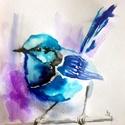 """Kék madár.Bíró Richárd gyönyörű akvarellje, Képzőművészet, Festmény, Akvarell, Napi festmény, kép, Festészet, Eredeti akvarell és nem nyomat. 13x15 cm akvarell,papír Ahogy a mondás is tartja,""""az alma nem esett..., Meska"""