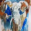 """elefántkirály..Bíró Richárd gyönyörű akvarellje, Képzőművészet, Festmény, Akvarell, Napi festmény, kép, Eredeti akvarell és nem nyomat. 15x21 cm akvarell,papír Ahogy a mondás is tartja,""""az alma nem ese..., Meska"""