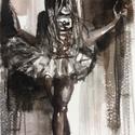 Kis balerina.Eredeti Bíró Konrád akvarell!