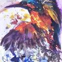 """Vadász a víz felett..Bíró Richárd gyönyörű akvarellje, Képzőművészet, Festmény, Akvarell, Napi festmény, kép, Eredeti akvarell és nem nyomat. 15x12 cm akvarell,papír Ahogy a mondás is tartja,""""az alma nem ese..., Meska"""