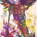 """Kolibri.Bíró Richárd gyönyörű akvarellje, Képzőművészet, Festmény, Akvarell, Napi festmény, kép, Eredeti akvarell és nem nyomat. 15x12 cm akvarell,papír Ahogy a mondás is tartja,""""az alma nem ese..., Meska"""