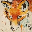 """A vadász lesben.Bíró Richárd gyönyörű akvarellje, Képzőművészet, Festmény, Akvarell, Napi festmény, kép, Eredeti akvarell és nem nyomat. 15x12 cm akvarell,papír Ahogy a mondás is tartja,""""az alma nem ese..., Meska"""