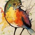 """Itt vagyok ragyogok.Bíró Richárd gyönyörű akvarellje, Képzőművészet, Festmény, Akvarell, Napi festmény, kép, Eredeti akvarell és nem nyomat. 15x12 cm akvarell,papír Ahogy a mondás is tartja,""""az alma nem ese..., Meska"""