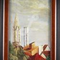 festmény- Budapest külvárosa januári, Dekoráció, Képzőművészet, Festmény, Olajfestmény, Festészet,   A termékek alatt az eredeti ár látható, ebből jön le a kedvezmény! ::) Nappali ablakom látványa....., Meska