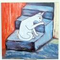 Fehér Macskás kép (nagy táblakép), Dekoráció, Otthon, lakberendezés, Képzőművészet, Falikép, Saját készítésű festményem után készült nyomat lett felkasírozva (a felület kezelve van) 8 mm-es MDF..., Meska