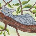 Macskusz Szieszta (nagy táblakép), Dekoráció, Otthon, lakberendezés, Képzőművészet, Falikép, Egy kis érdekes tény :) a macskákról:  A macskák kulcscsontja szabadon mozog, hogy átpréselhessék ma..., Meska