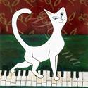 Zongorán sétáló macskusz táblakép (nagy táblakép), Dekoráció, Otthon, lakberendezés, Képzőművészet, Falikép, Ez a mutatós táblakép az elegáns matt fekete szegélyével tetszetősé teszi a helyiségünket, ami bármi..., Meska