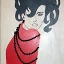 Nő gyöngysorral -Nő ezer arca, Dekoráció, Otthon, lakberendezés, Képzőművészet, Falikép, Saját készítésű textil képem  után készült nyomat lett felkasírozva (a felület kezelve va..., Meska