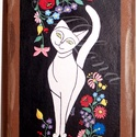 Cica kalocsai hímzéssel - Cicák népi mintákkal sorozat része, Dekoráció, Otthon, lakberendezés, Képzőművészet, Magyar motívumokkal, Saját, teljesen egyedi grafikájú  festményem után készült nyomat, falapra kasírozva. A kép a Cicák n..., Meska