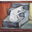 Táblakép Macskaimádóknak , Dekoráció, Otthon, lakberendezés, Képzőművészet, Magyar motívumokkal, Saját, teljesen egyedi grafikájú festményem után készült nyomat, falapra kasírozva.  A lenyomat 6 mm..., Meska