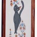 Saját tervezésű táblakép cicával és sárközi hímzéssel, Dekoráció, Otthon, lakberendezés, Képzőművészet, Magyar motívumokkal, Saját, teljesen egyedi grafikájú festményem után készült nyomat, falapra kasírozva. A kép a Cicák né..., Meska