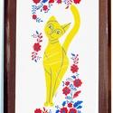 Macska Palóc hímzéssel, Dekoráció, Otthon, lakberendezés, Képzőművészet, Magyar motívumokkal, Saját, teljesen egyedi grafikájú festményem után készült nyomat, falapra kasírozva. A kép a..., Meska