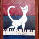 Zongorán sétáló macska, Dekoráció, Otthon, lakberendezés, Képzőművészet, Magyar motívumokkal, Festészet, Mindenmás, A zongorán sétáló macsek a bűbájos pimaszságával igazán kedvence lehet akár a zenét ,akár a cicusok..., Meska