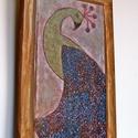 Páva vintage , Dekoráció, Otthon, lakberendezés, Képzőművészet, Saját tervezésű textil képem után készült nyomat, falapra kasírozva.  A lenyomat 6 mm-es MDF lapra v..., Meska