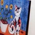 Kis macskusz virágcseréppel (nagy táblakép), Dekoráció, Otthon, lakberendezés, Képzőművészet, Falikép, Festészet, Mindenmás, Ez a mutatós táblakép az elegáns matt fekete szegélyével tetszetősé teszi a helyiségünket, ami bárm..., Meska