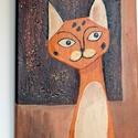 Szavanna macska AKCIÓS!!, Dekoráció, Baba-mama-gyerek, Képzőművészet, Festmény, 22500 Ft-ról 12500 forintra akcióztam le. utolsó darab.   Vászonra készült, akril festékkel készítet..., Meska
