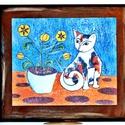 Macska virágcseréppel, Dekoráció, Otthon, lakberendezés, Képzőművészet, Magyar motívumokkal,  Saját, teljesen egyedi grafikájú festményem után készült nyomat, falapra kasírozva.  A lenyomat 6 m..., Meska