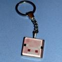 kulcstartó-minecraft üveglencsés, Mindenmás, Ékszer,  Kulcstartó 3o mm átmérőjű  ezüstszínű kör alakú kulcskarikával, szintén ezüstszínű sima szélű kb. 2..., Meska