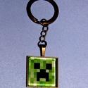 kulcstartó-minecraft üveglencse, Mindenmás, Ékszer, Kulcstartó 3o mm átmérőjű  bronzszínű kör alakú kulcskarikával, szintén antik bronzszínű sima szélű ..., Meska