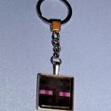 kulcstartó-minecraft üveglencse, Mindenmás, Ékszer,  Kulcstartó 3o mm átmérőjű  ezüstszínű kör alakú kulcskarikával, szintén ezüstszínű s..., Meska