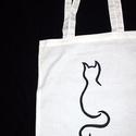 AKCIÓ!! cicás vászon táska hosszú füllel Karácsonyi-10%, Mindenmás, Táska, Szatyor, Válltáska, oldaltáska,  A termékek alatt az eredeti ár látható, ebből jön le a kedvezmény! ::)  A táskára a minta kézzel fe..., Meska