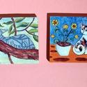 Hűtőmágnes  macska, Dekoráció, Otthon, lakberendezés, Képzőművészet, Falikép, A táblaképekből ismert kedves cicusokból ,most hűtőmágnest készítettem.  Saját készítésű festményem ..., Meska
