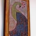 Páva vintage , Dekoráció, Otthon, lakberendezés, Képzőművészet,  Saját tervezésű textil képem után készült nyomat, falapra kasírozva.  A lenyomat 6 mm-es MDF lapra ..., Meska