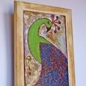 Páva vintage , Dekoráció, Otthon, lakberendezés, Képzőművészet,   Saját tervezésű textil képem után készült nyomat, falapra kasírozva.  A lenyomat 6 mm-es MDF lapra..., Meska