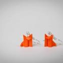 Origami róka lógós fülbevaló, Ékszer, óra, Fülbevaló, Papírművészet, Origami róka, lógós fülbevaló. Mert a róka az új bagoly! Mindössze 11 mm magas. Minden fülbevalómat..., Meska