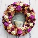 Romantikus terméskoszorú-Ajtódísz virágtartóval, Dekoráció, Otthon, lakberendezés, Koszorú, Ajtódísz, kopogtató, Virágkötés, KÜLÖNBÖZŐ SZÍNEKBEN újra RENDELHETŐ :)))) Ha már unod a natúr terméskoszorúkat ajánlom neked ezt a ..., Meska