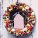 Vintage kopogtató- Ajtódísz szürke és rózsaszín összeállításban, Dekoráció, Otthon, lakberendezés, Dísz, Koszorú, Ajtódísz, kopogtató, Virágkötés, Trendi csajoknak ajándékba, házavatóra, születésnapra vagy csak úgy :)  A kopogtató a vintage színe..., Meska