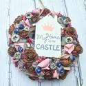 My Home is my Castle-Vintage kopogtató az év 365 napjára, Dekoráció, Otthon, lakberendezés, Koszorú, Ajtódísz, kopogtató, Virágkötés, Az én otthonom az én váram, nem csak ősszel :))) Egy trendi vintage ajtódíszt készítettem rózsaszín..., Meska