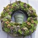 Zöldike-Őszi ajtódísz virágtartóval, Dekoráció, Otthon, lakberendezés, Ajtódísz, kopogtató, Kaspó, virágtartó, váza, korsó, cserép, Virágkötés, Ha már unod a natúr terméskoszorúkat ajánlom neked ezt a virágtartós ajtódíszt. Az erdő ihlette kos..., Meska