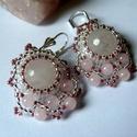 Rózsakvarc-gyöngy  fülbevaló, Ékszer, Fülbevaló, A fülbevalót 12mm-es csiszolt rózsakvarc , 4mm-es rózsakvarc golyóból és japán gyöngyből készítettem..., Meska