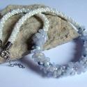 Kalcedon ásvány és gyöngy nyaklánc, Ékszer, Nyaklánc, A nyakláncot kalcedon ásványból, és Japán gyöngyből japán zsinórfonással készítettem aprólékos munká..., Meska