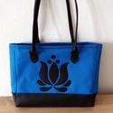 Kék Cordura táska tulipán motívummal, Táska, Válltáska, oldaltáska, Kék táska tulipán motívummal.  A táska vízhatlan anyagból készült.  A táska húzózárral ..., Meska
