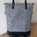 Variálható szürke/fekete női táska valódi bőr pántokkal.